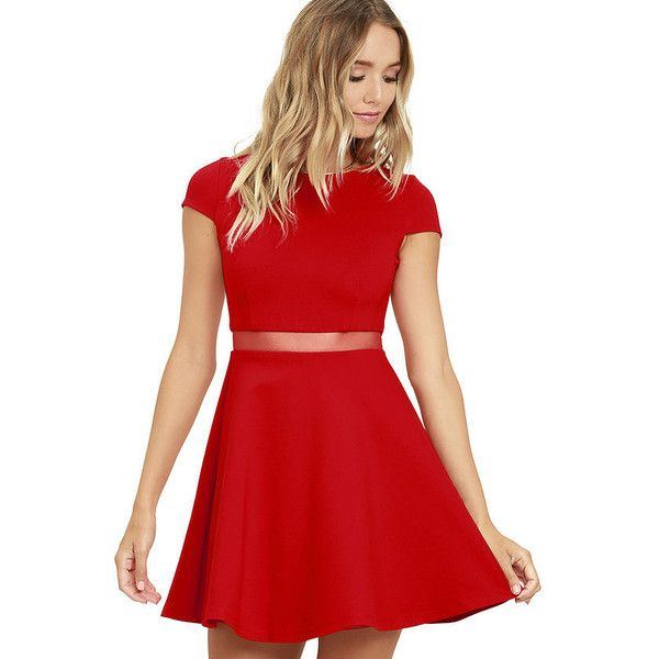 Legendary Lovers Red Skater Dress (1,115 MXN) ❤ liked on Polyvore featuring dresses, red, red dress, red skater dresses, flared skirt, skater skirt and cap sleeve skater dress