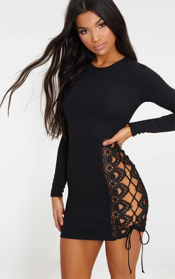 Black Lace Up Side Long Sleeve Bodycon Dress  d6e15c76d99