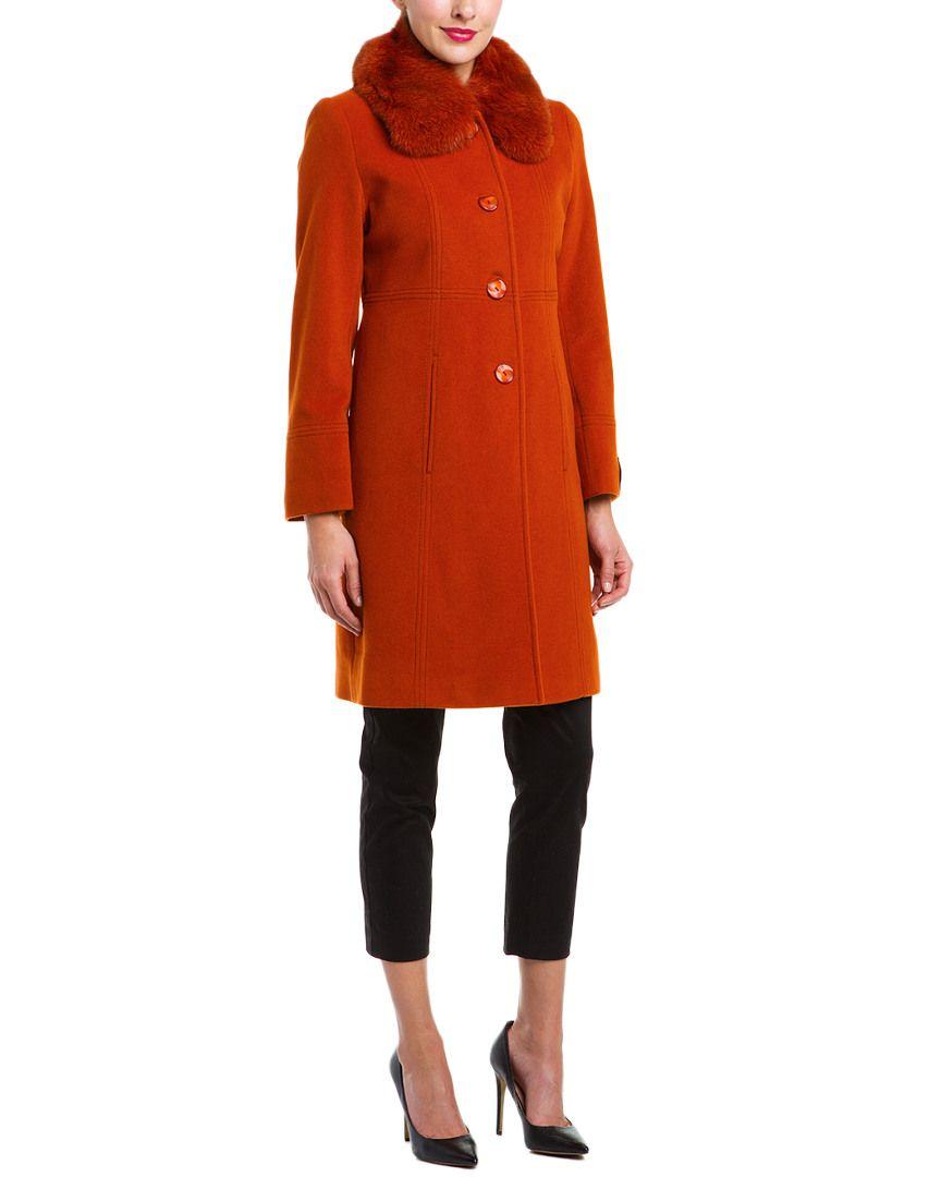 Kristen Blake Sienne Fur Collar Wool-Blend Coat is on Rue. Shop it now.