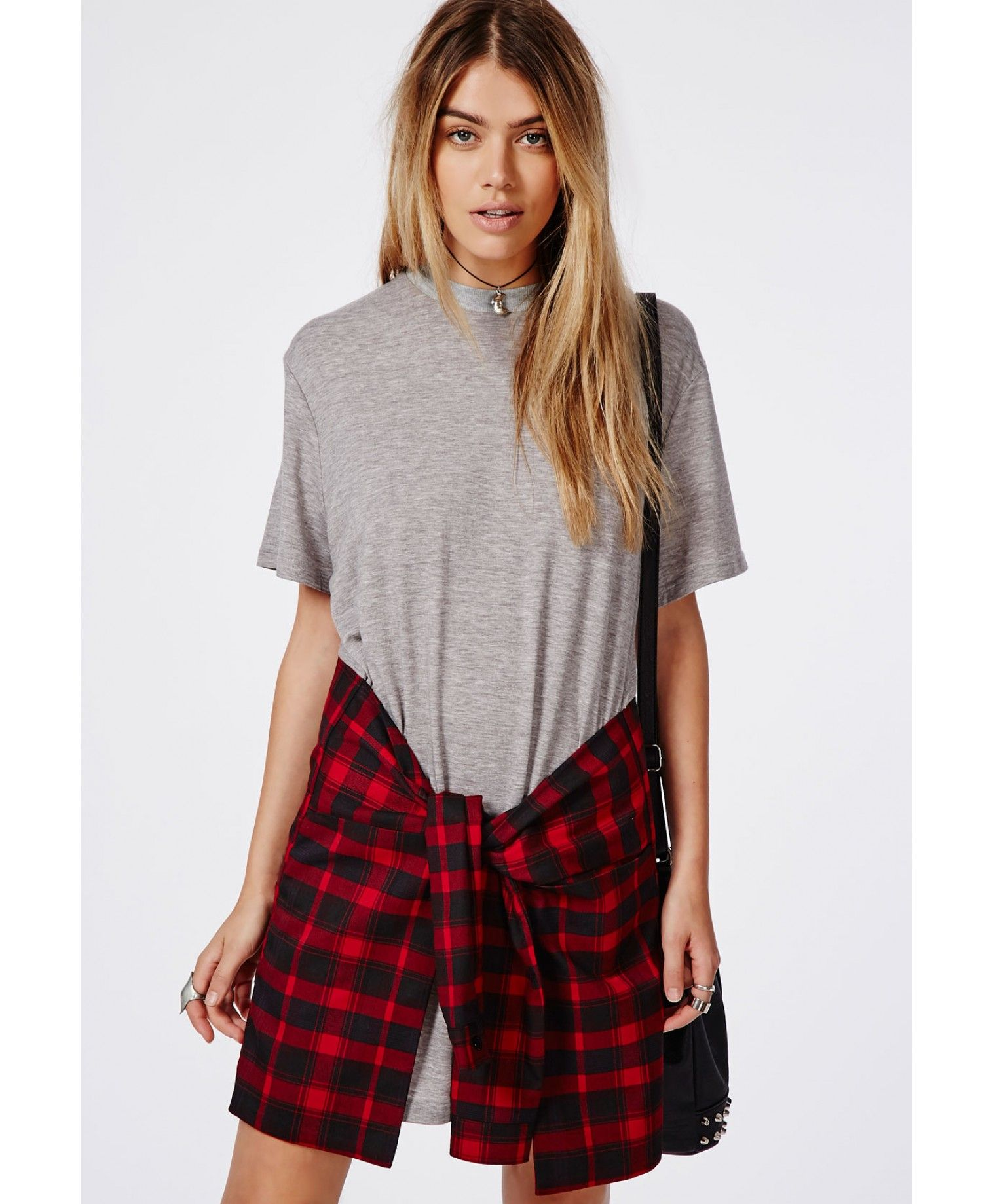 Tie Waist Jersey T-shirt Dress Grey/Red - Dresses - T-Shirt Dress - Missguided | Ireland