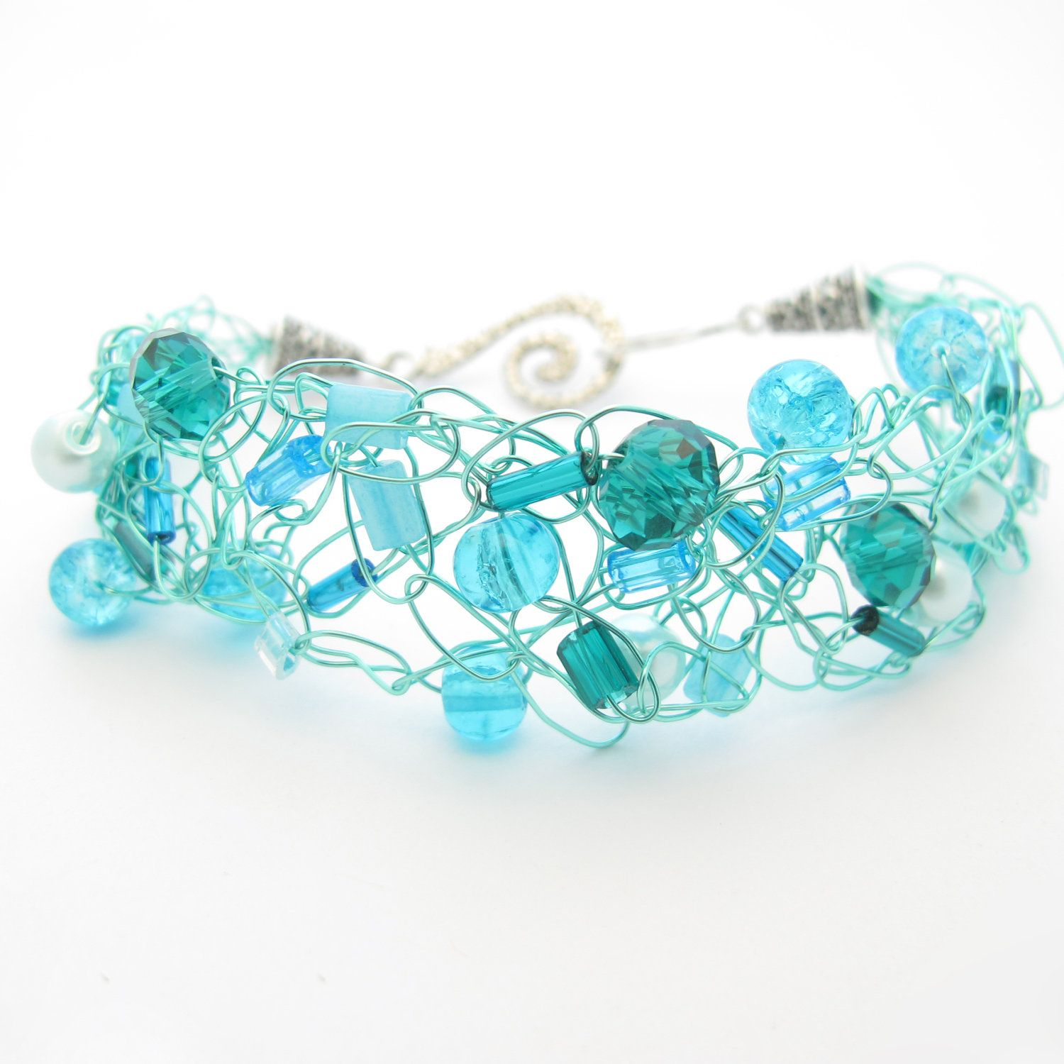 aqua teal turquoise | Wire Crochet Beaded Bracelet - Aqua, Teal, and Turquoise