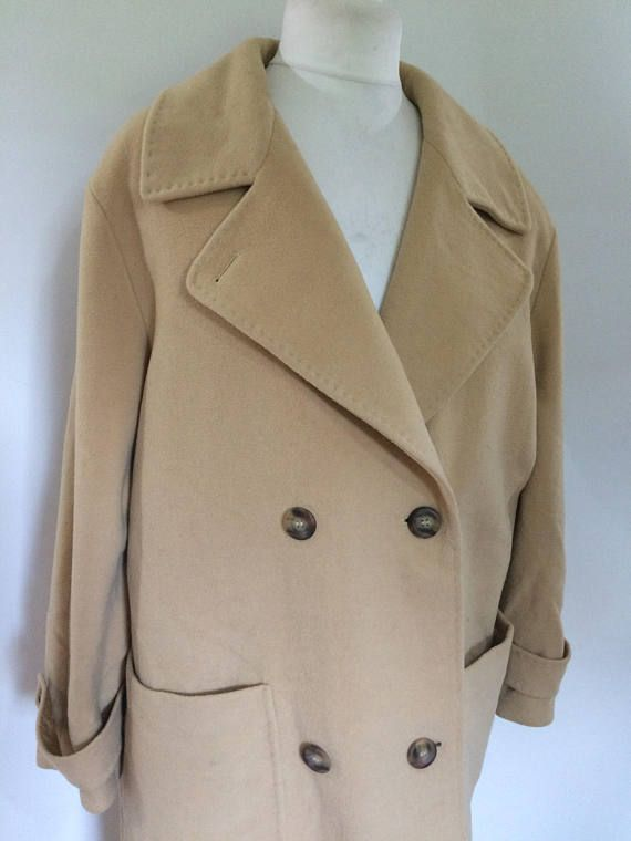 580889f7bb Vintage womens camel coat by Hucke 80s oversized pure new wool coat ...