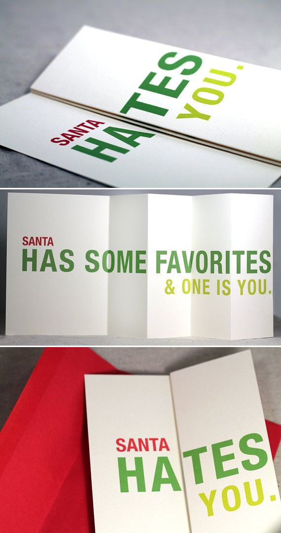 Clever Christmas Card Santa Hates You Maybe Not These Words