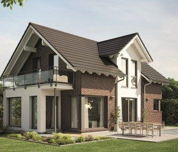 Moderne Einfamilienhaus Architektur Mit Klinker Fassade Satteldach Und  Zwerch Giebel   Haus Evolution 122