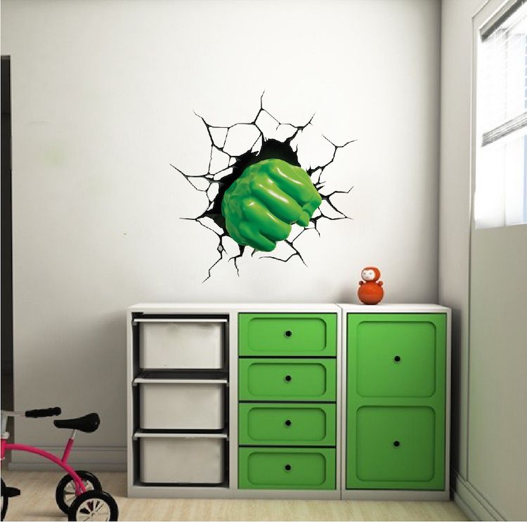 Green Fist Smash Wall Decal Superhero Wall Design Kids Smash Wall Cling Boys Room Decor Stickers Superhero Room Kids Wall Murals Kids Wall Decals
