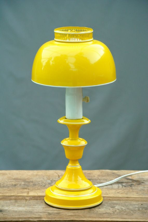 Vintage Table Lamp With Metal Dome Lamp Shade Yellow Lamp Lamp Vintage Yellow