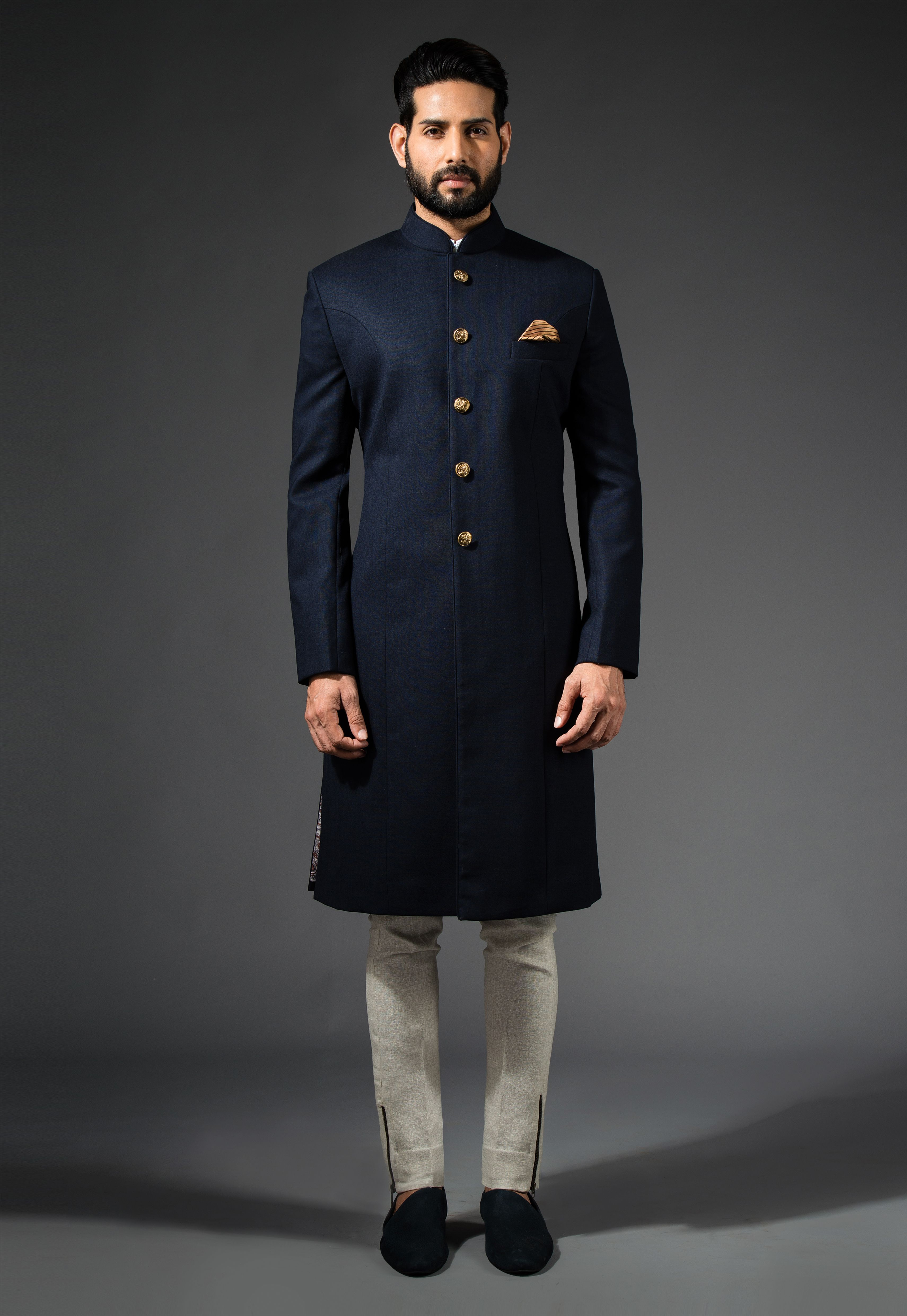 Navy Long Bandhgala #Navy #Bandhgala #Sherwani #Ornamental ...