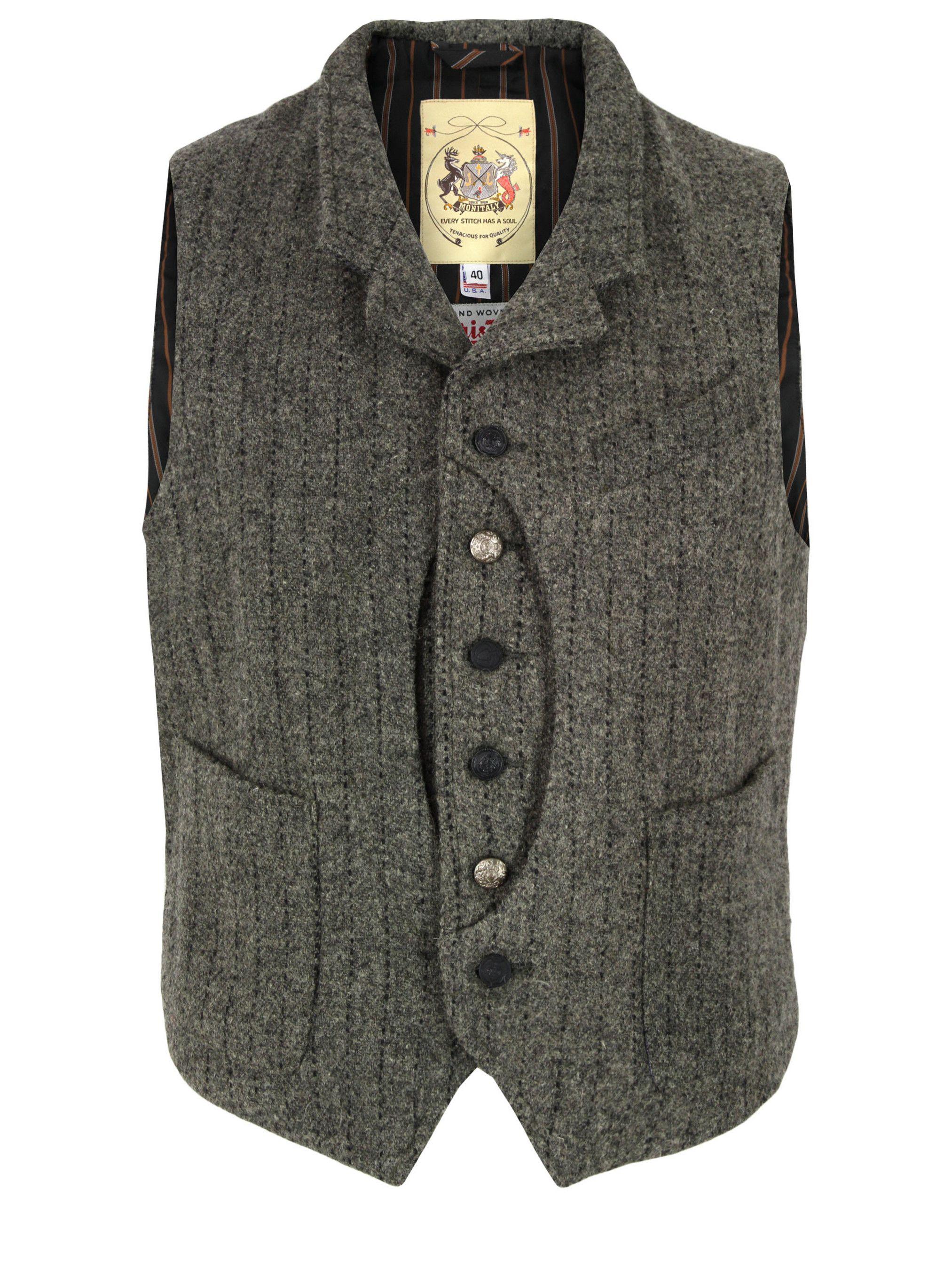 acfa3e876e7c2 Coggles Monitaly Grey Harris Tweed Hunting Vest | prslook | Mens ...