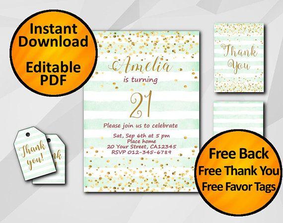 21st Birthday invitation Instant Download It\u0027s super easy and - birthday invitation software