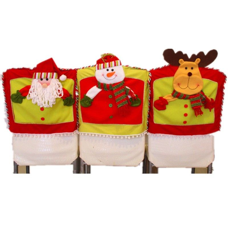 Christmas Dining Room Chair Cover Santa Claus Snowman Elk Seat Back Coat Home Party Decor