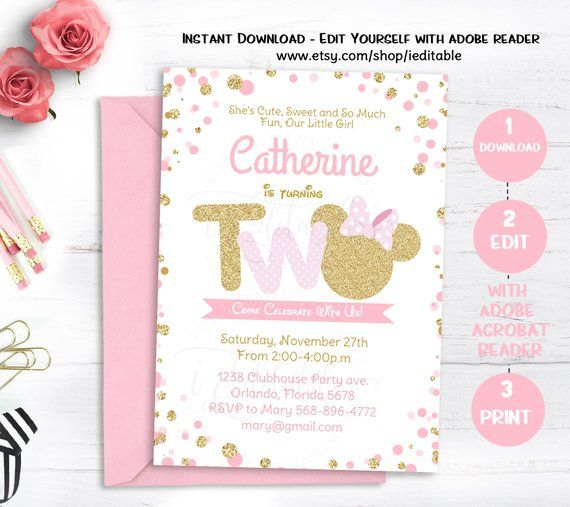 Pink And Gold Minnie Mouse Birthday Party Invitation Second 2nd Twodles Glitter Po