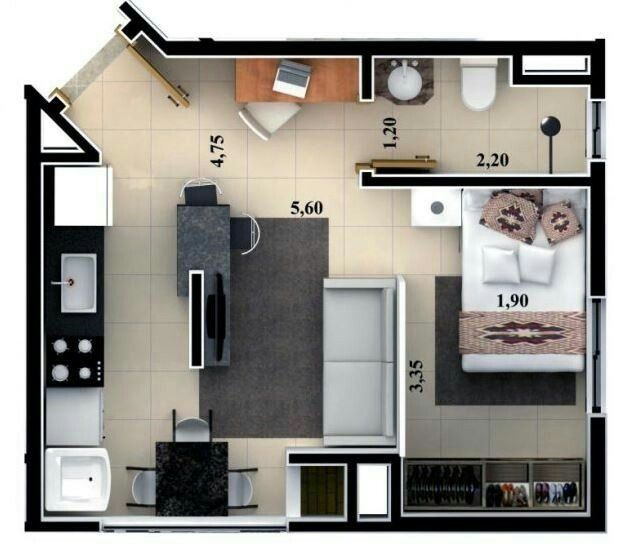 Studio flat floor plan floor plans pinterest for Minimalistisches haus grundriss