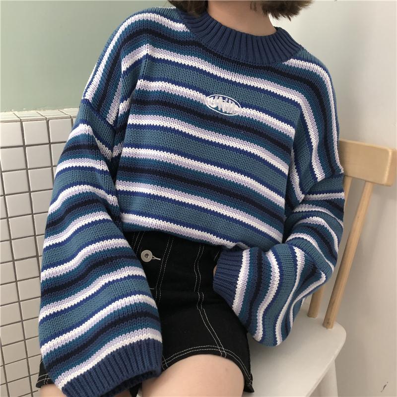 Retro Blue Striped Sweater