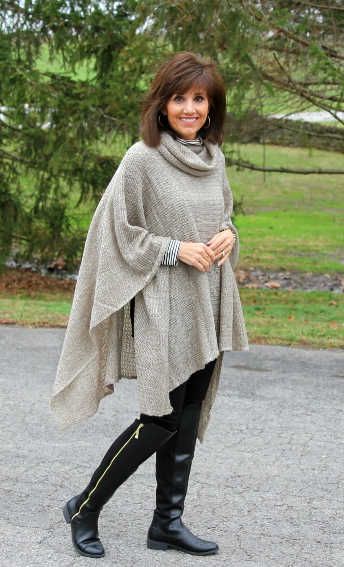8a62c74923e4 Casual Winter Fashion-Poncho and black boots