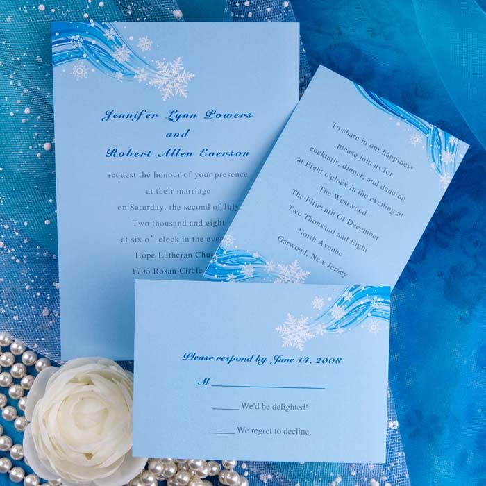 printable elegant snowflake blue winter beach wedding invitation – Blue Wedding Invitation Cards