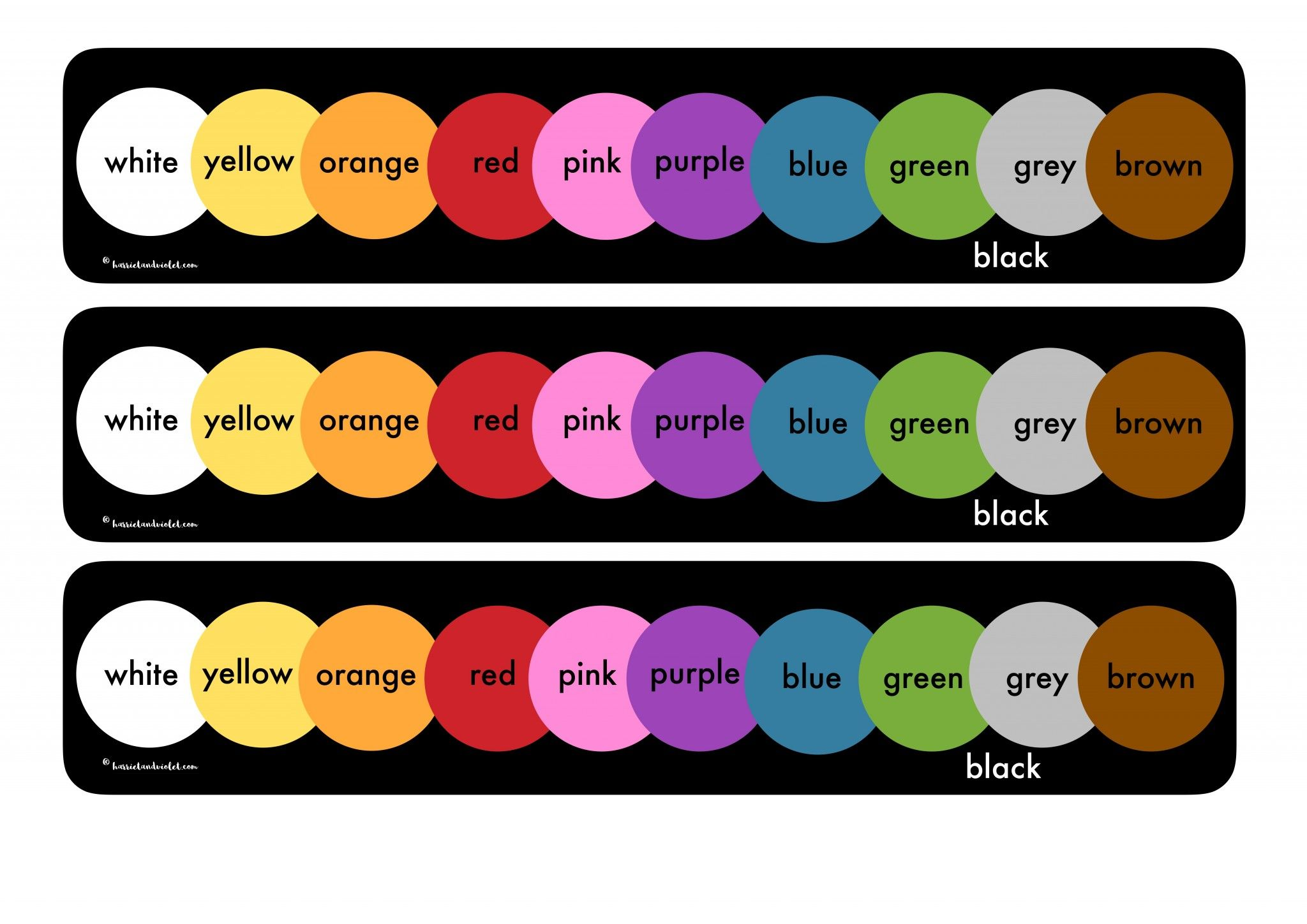 Colour Name Chart Colour Strip Printable Teaching Resources Print Play Learn Color Names Chart Color Names Printable Teaching Resources