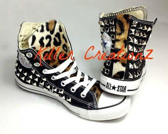 09ba40c81100 Custom Converse Chuck Taylors studded on BOTH sides with faux leopard fur  -any size and color- (made