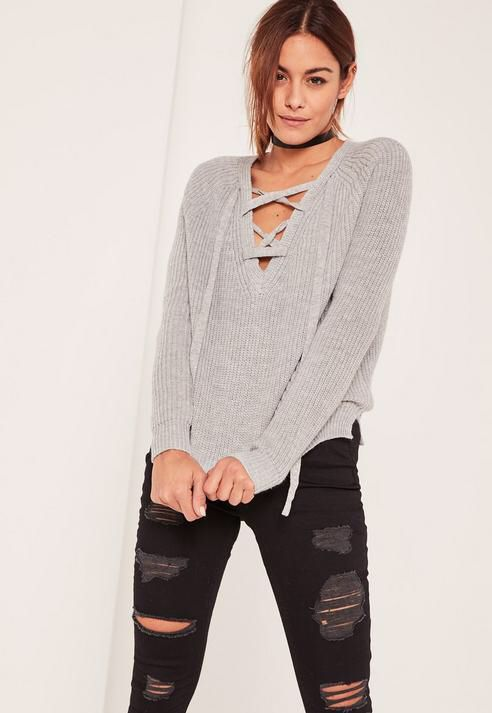 Grey Lace Up Detail Sweater