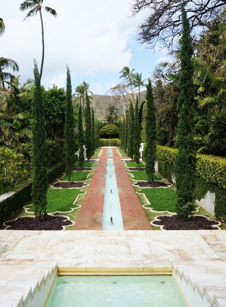 The Mughal garden of Doris Duke's historic house in Hawaii, Shangri La.