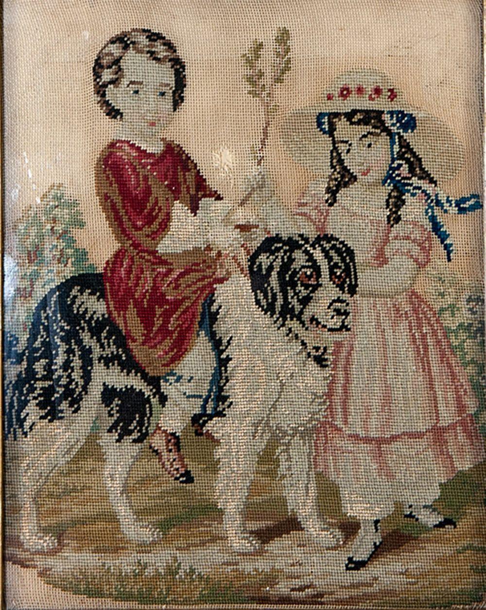 Antique Victorian Era Needlepoint Framed Children And Their