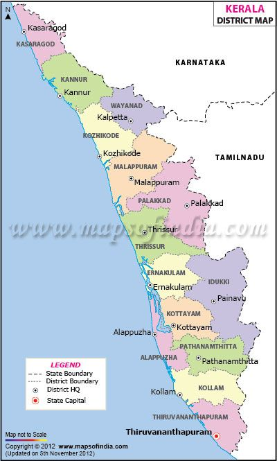 capital of kerala in india map Kerala District Map India Map Map Kerala capital of kerala in india map