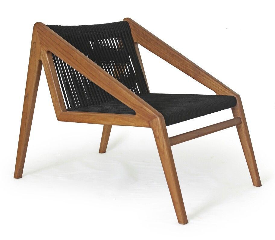 Abel Lounge Chair With Black Rope Scandinavian Style Minimalist Made In Teak