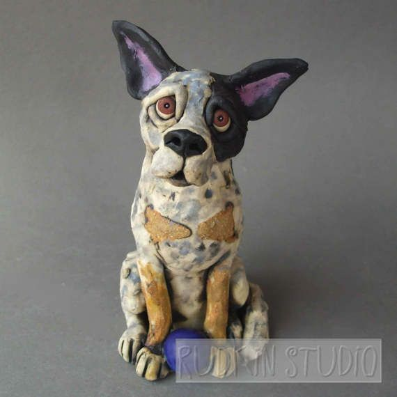 Australian Cattle Dog Or Queensland Heeler Ceramic Sculpture Dog