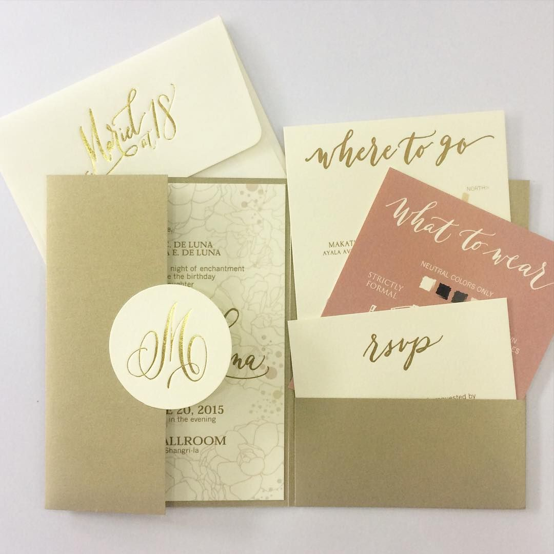 "Ink Scribbler on Instagram: ""Pretty in pink and gold-- a young and elegant  debut suite! #invitations #inksc… 