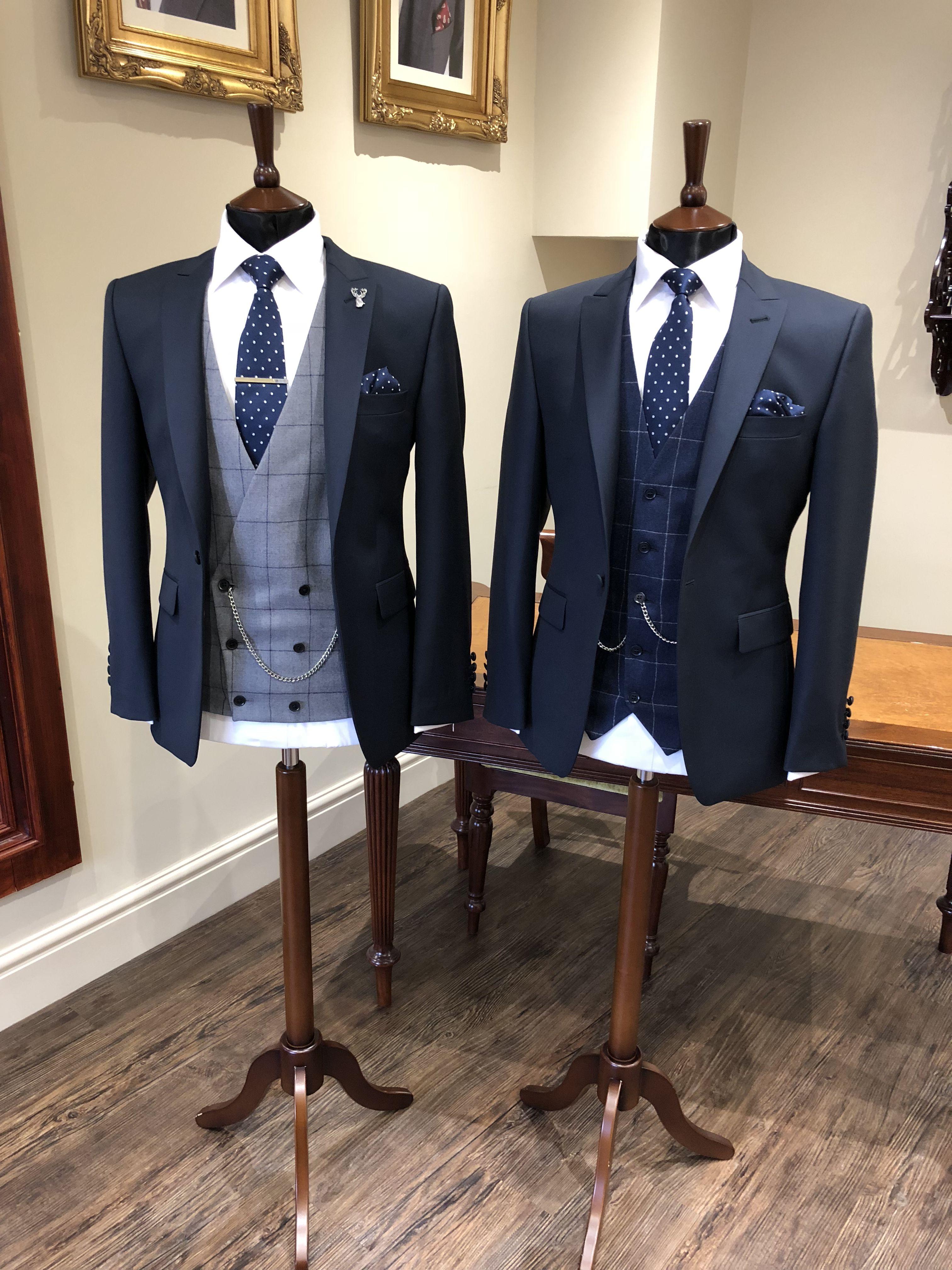 Slim Fit Navy Suit Brown Tweed Waistcoat Stag Pin Country