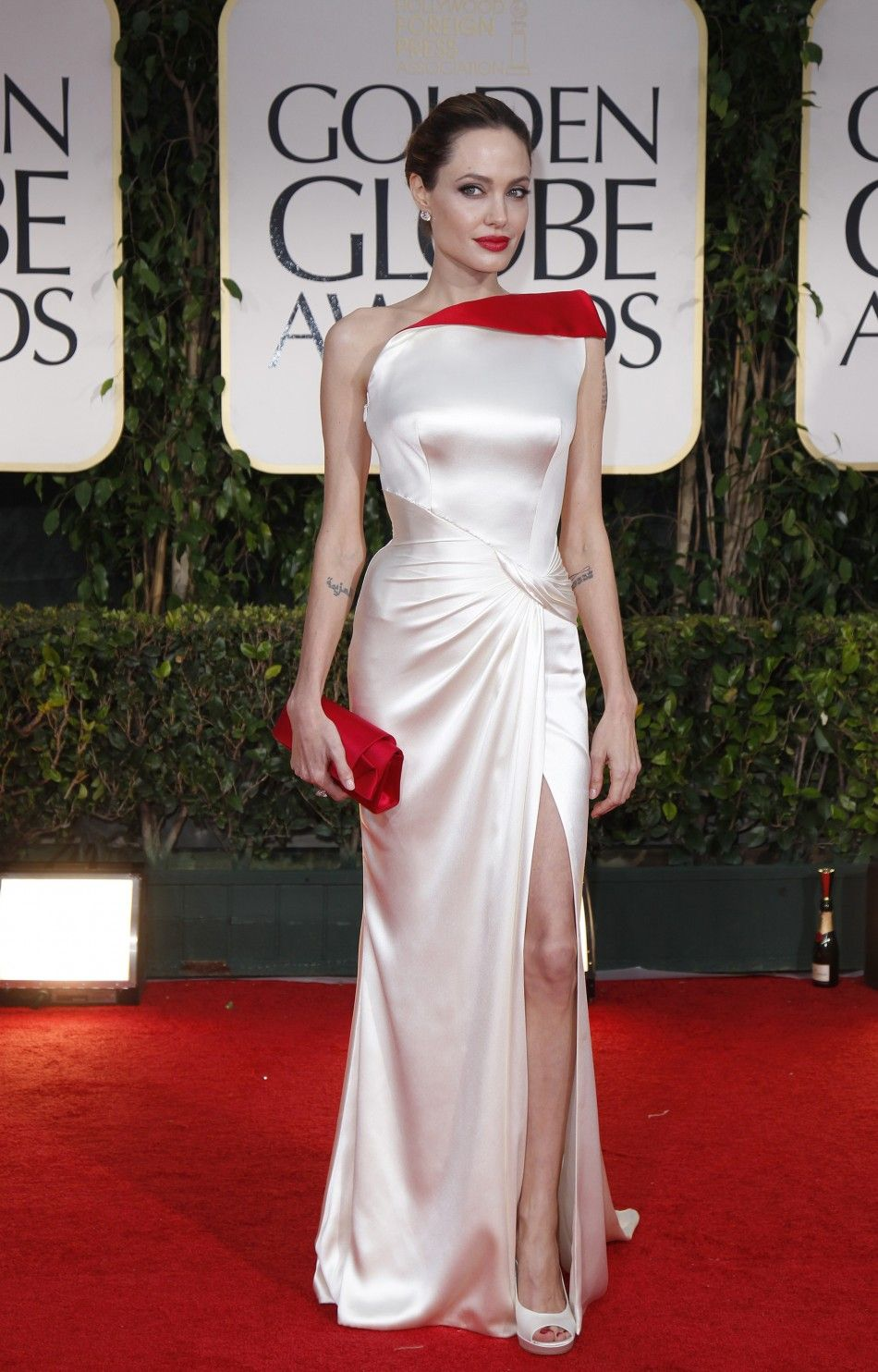 Actress and director Angelina Jolie arrives at the 69th annual Golden Globe Awards in Beverly Hills, California January 15, 2012.