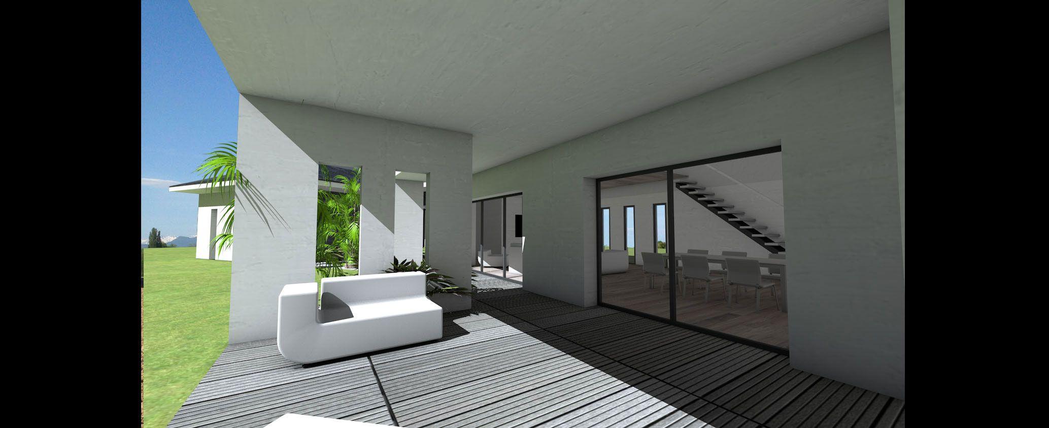 Maison contemporaine à toit ardoises et grande terrasse ...