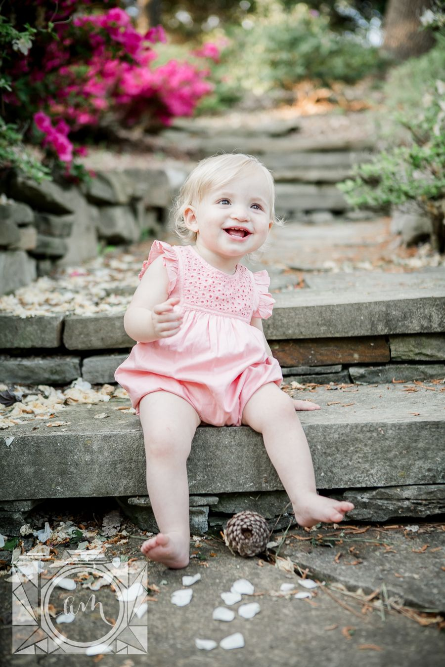 74348d65b261c Little girl sitting on stairs smilling at her 1 year old session at Baxter  Gardens by Knoxville Wedding Photographer, Amanda May Photos.