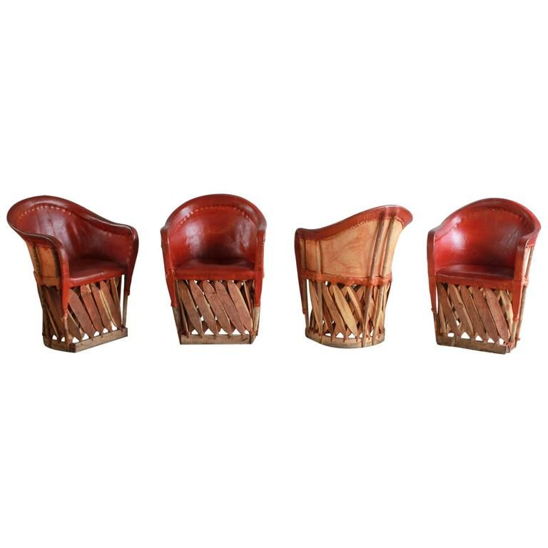 Set Of Four Mexican Equipale Wood And Leather Chairs From A Unique Collection Antique
