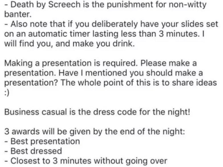 Party Where Each Guest Provides 3 Minute Powerpoint Presentation Is Actually Genius Presentation Powerpoint Presentation Make A Presentation