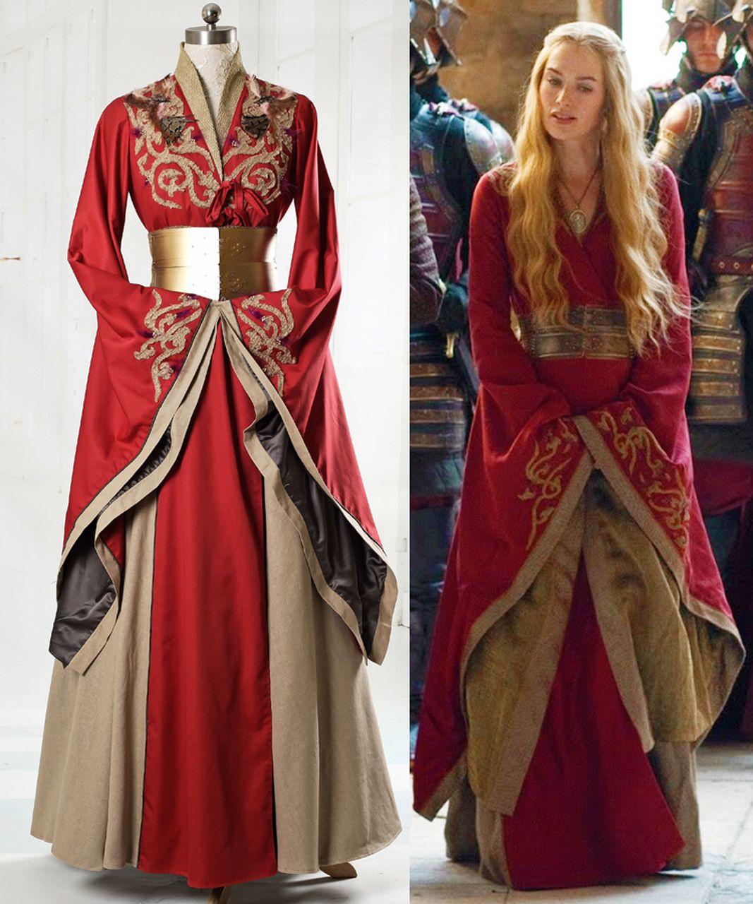 Game of Thrones 7 Queen Cersei Lannister Costume Cosplay Halloween DELUXE Dress