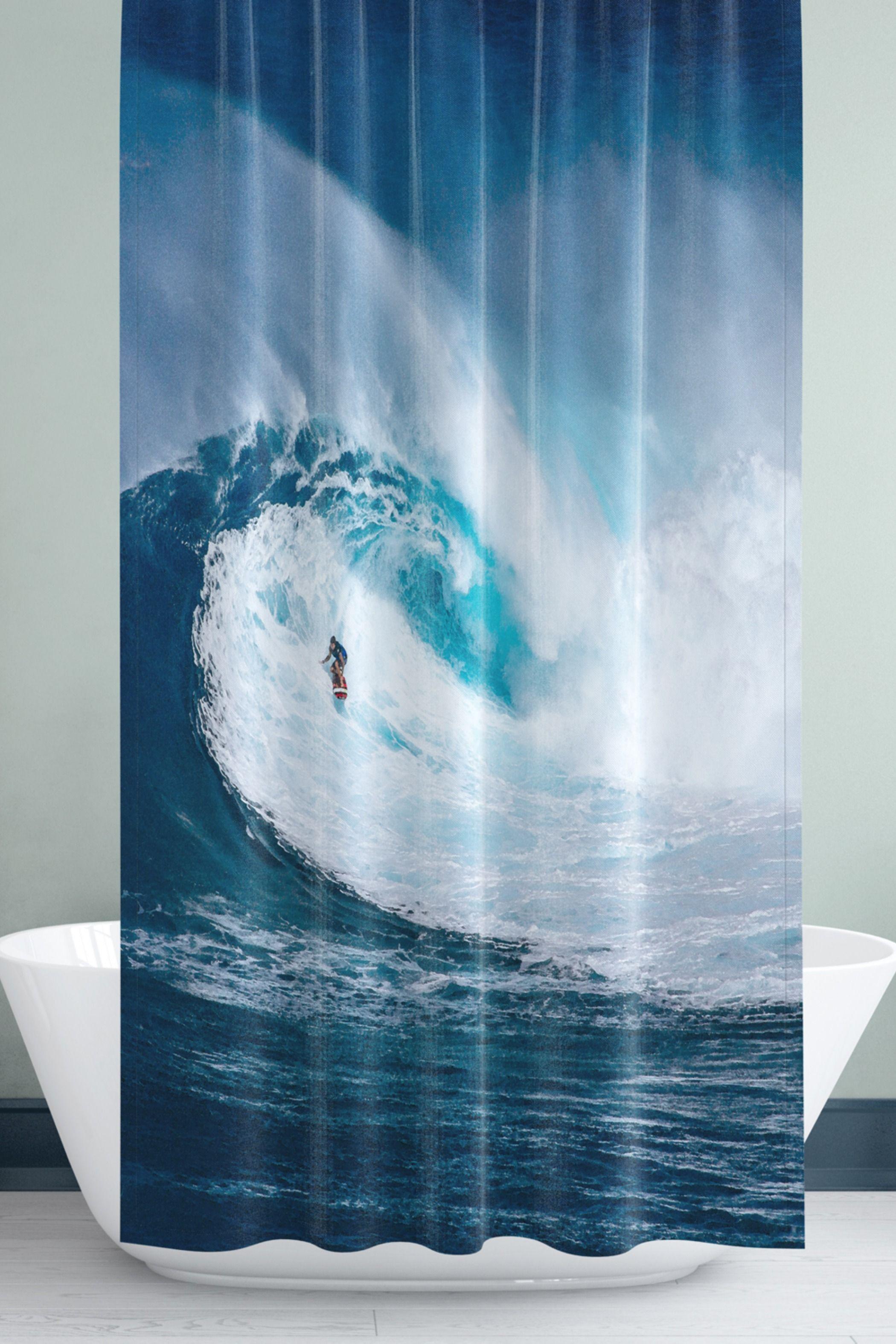 Surfing Shower Curtain Etsy Surfer Decor Curtains Brown