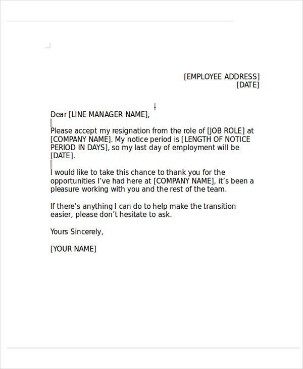 Resignation letter format resignation letter format with notice resignation letter format resignation letter format with notice period free pdf template expocarfo