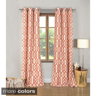 Superior Ashmont Geometric 84 Inch Grommet Top Curtain Panel Pair