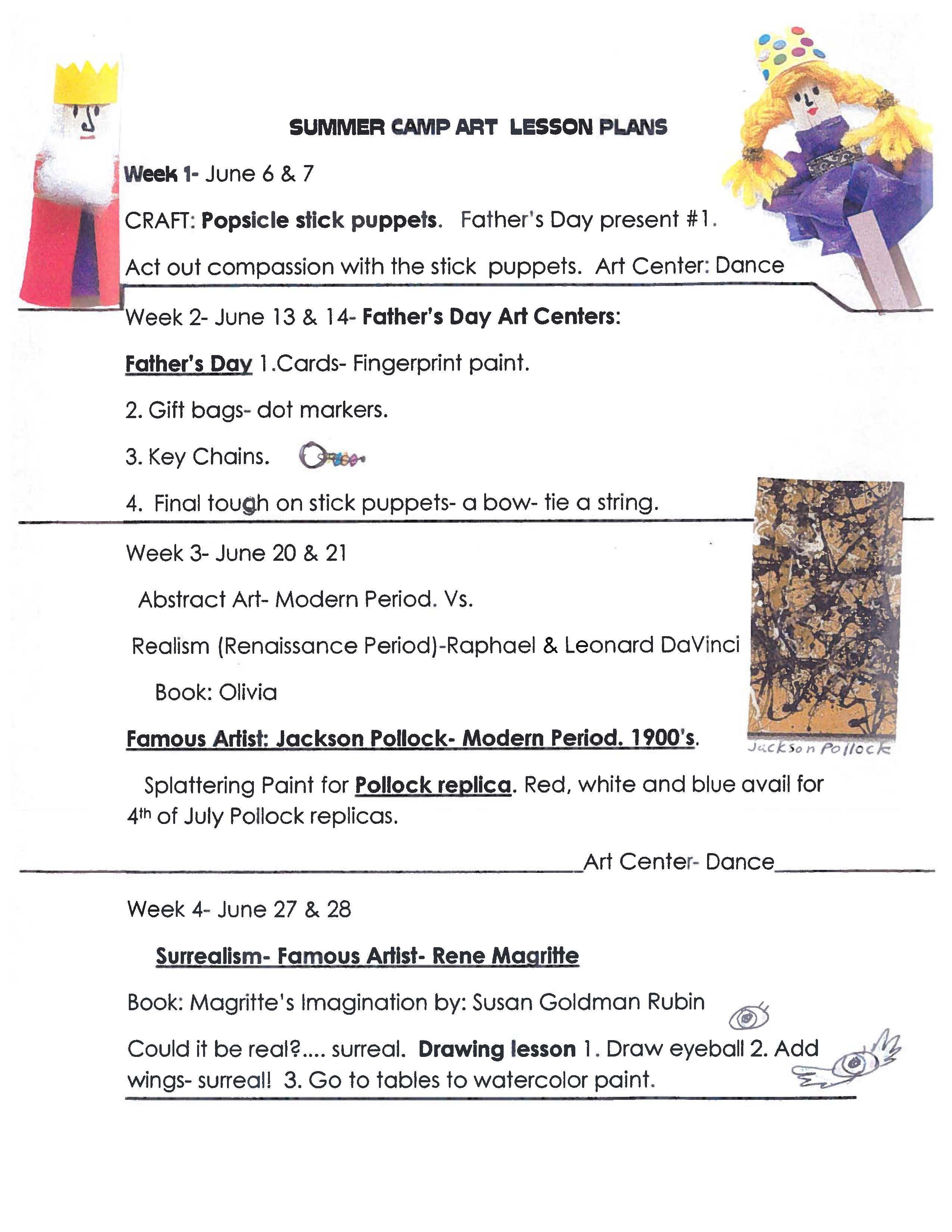 Art Lesson Plans For Summer Camp