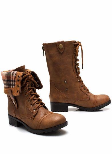 Keep Tabs Combat Boots Camel brown, & black. GoJane   Shewz ...