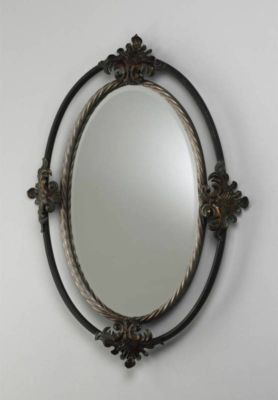Tuscan Wrought Iron Twisted Rope Oval Wall Mirror Scrolled Old World Leaf New Bathroom Mirrors