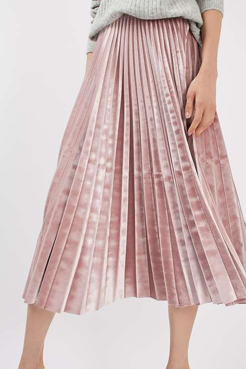 TALL Velvet Pleated Midi Skirt