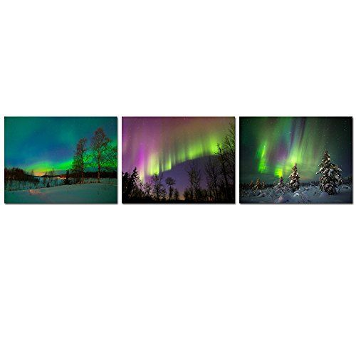 The Northern Lights Purple Aurora Borealis Iceland Picture Art Framed Print
