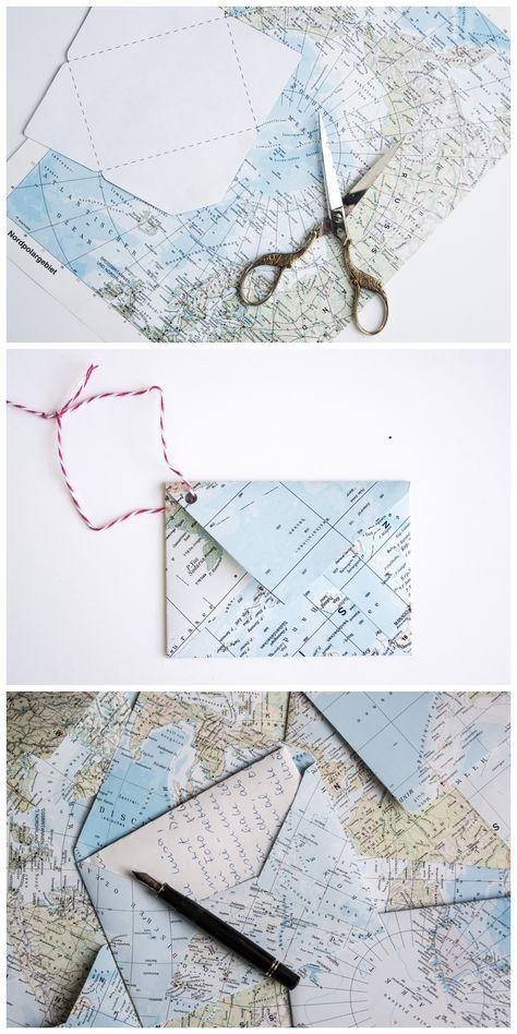 Wie Du Aus Einer Atlas Seite Einen Briefumschlag Falten Kannst Diy