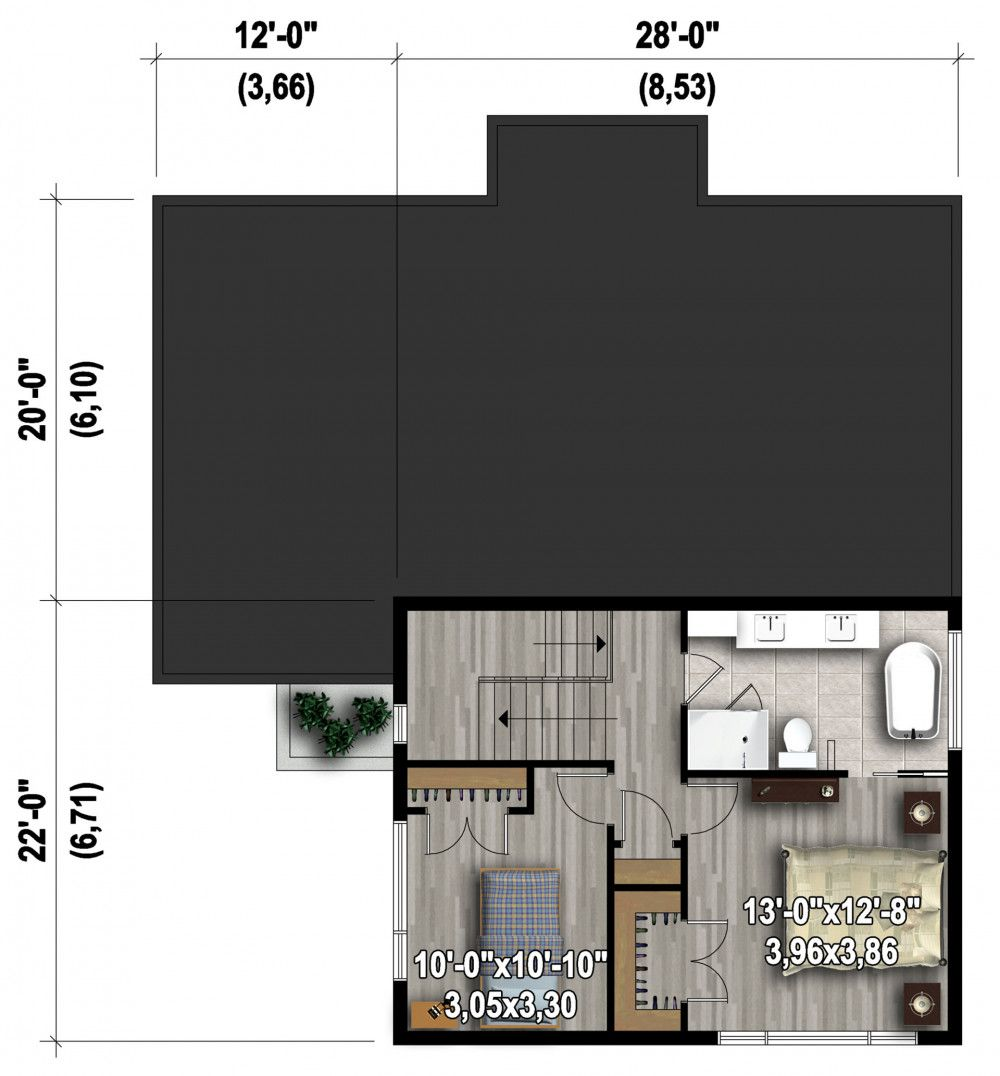 Plan image used when printing Modern house plans