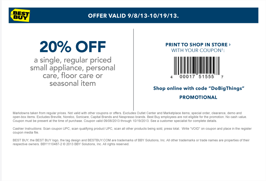 52d08477cd Pinned September 8th  20% off a single small appliance at Best  Buy ...