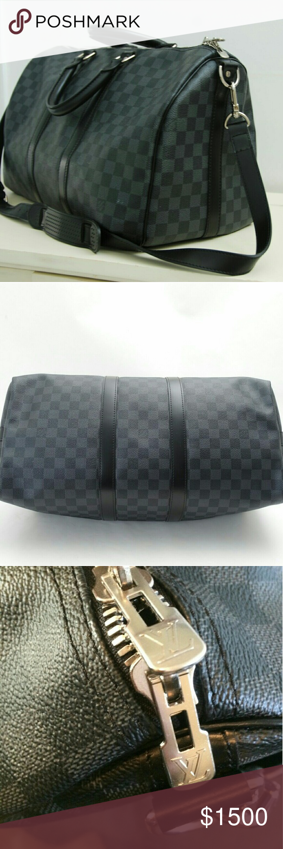 Louis Vuitton Keepall Bandouliere 45 N41418 💯 Authentic Louis Vuitton Keepall 45 Bag Damier Graphite Canvas Used ONLY 2X...In MINT Condition Comes with Clear Bottom Shaper  Comes with the Dustbag and Box Copy of receipt available  ID Tag has the intials J.C hot stamped  Cabin Size Size: 17.7 x 10.6 x 7.9 inches Email for lower price Louis Vuitton Bags Travel Bags