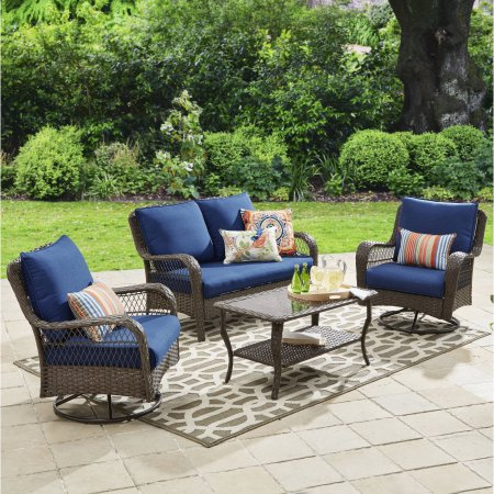 Better Homes and Gardens Colebrook 4-Piece Outdoor Conversation Set, Seats  4, Brown - Better Homes And Gardens Colebrook 4-Piece Outdoor Conversation Set