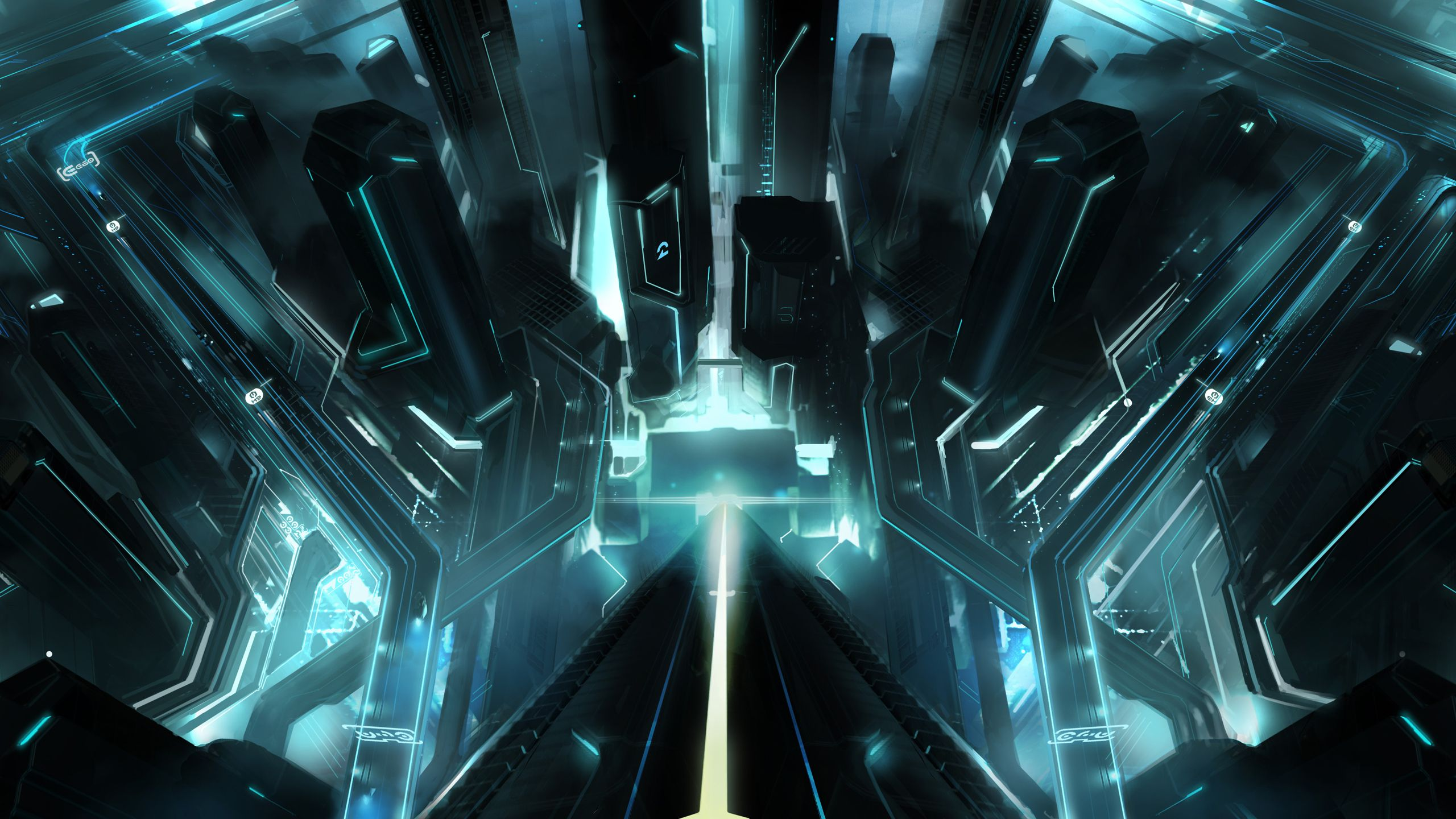 Tron Science Fiction Cities Wallpaper 1 2560x