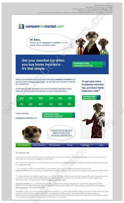 company subject a meerkat toy when you buy home insurance inboxvision a. Black Bedroom Furniture Sets. Home Design Ideas
